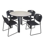 "Regency Kee 48"" Round Breakroom Table- Maple/ Black and 4 Zeng Stack Chairs- Black (TB48RDPLPBK44BK)"