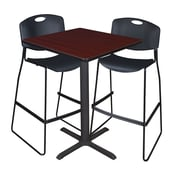 "Regency Cain 30"" Square Cafe Table- Mahogany and 2 Zeng Stack Stools- Black (TCB3030MH4495BK)"