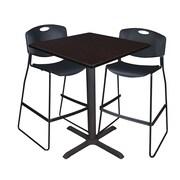 "Regency Cain 36"" Square Cafe Table- Mocha Walnut and 2 Zeng Stack Stools- Black (TCB3636MW4495BK)"