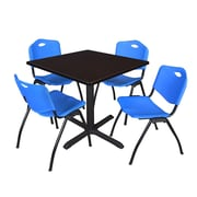 "Regency Cain 42"" Square Breakroom Table- Mocha Walnut and 4 'M' Stack Chairs- Blue (TB4242MW47BE)"