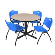 """Regency Cain 48"""" Round Breakroom Table- Beige and 4 'M' Stack Chairs- Blue (TB48RNDBE47BE)"""