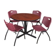 "Regency Cain 48"" Round Breakroom Table- Cherry and 4 'M' Stack Chairs- Burgundy (TB48RNDCH47BY)"