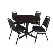 "Regency Cain 48"" Round Breakroom Table- Mocha Walnut and 4 Restaurant Stack Chairs- Black (TB48RNDMW29BK)"