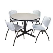 """Regency Cain 48"""" Round Breakroom Table- Maple and 4 'M' Stack Chairs- Grey (TB48RNDPL47GY)"""