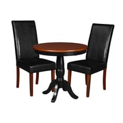 "Niche Mod 30"" Round Pedestal Table- Cherry/Black and 2 Tyler Dining Room Chairs- Cherry/Black (TVCTR30CH60CH2)"