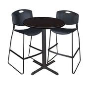 "Regency Cain 30"" Round Cafe Table- Mocha Walnut and 2 Zeng Stack Stools- Black (TCB30RNDMW4495)"