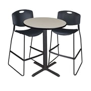 """Regency Cain 30"""" Round Cafe Table- Maple and 2 Zeng Stack Stools- Black (TCB30RNDPL4495)"""