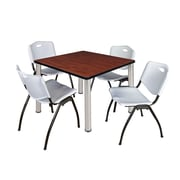 "Regency Kee 42"" Square Breakroom Table- Cherry/ Chrome and 4 'M' Stack Chairs- Grey (TB4242CHPCM47GY)"
