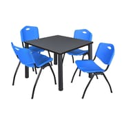 "Regency Kee 42"" Square Breakroom Table- Grey/ Black and 4 'M' Stack Chairs- Blue (TB4242GYPBK47BE)"