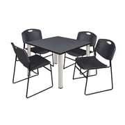 """Regency Kee 42"""" Square Breakroom Table- Grey/ Chrome and 4 Zeng Stack Chairs- Black (TB4242GYPCM44BK)"""