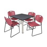 """Regency Kee 42"""" Square Breakroom Table- Grey/ Chrome and 4 Zeng Stack Chairs- Burgundy (TB4242GYPCM44BY)"""