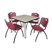 "Regency Kee 42"" Square Breakroom Table- Maple/ Chrome and 4 'M' Stack Chairs- Burgundy (TB4242PLPCM47BY)"