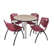 "Regency Kee 42"" Round Breakroom Table- Beige/ Chrome and 4 'M' Stack Chairs- Burgundy (TB42RDBEPCM47BY)"
