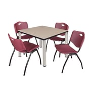 "Regency Kee 36"" Square Breakroom Table- Beige/ Chrome and 4 'M' Stack Chairs- Burgundy (TB3636BEPCM47BY)"