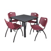"Regency Kee 36"" Square Breakroom Table- Grey/ Black and 4 'M' Stack Chairs- Burgundy (TB3636GYPBK47BY)"