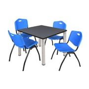"Regency Kee 36"" Square Breakroom Table- Grey/ Chrome and 4 'M' Stack Chairs- Blue (TB3636GYPCM47BE)"