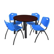 "Regency Kee 42"" Round Breakroom Table- Mahogany/ Black and 4 'M' Stack Chairs- Blue  (TB42RDMHBPB47BE)"