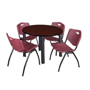 """Regency Kee 42"""" Round Breakroom Table- Mahogany/ Black and 4 'M' Stack Chairs- Burgundy  (TB42RDMHBPB47BY)"""