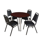 "Regency Kee 42"" Round Breakroom Table- Mahogany/ Chrome and 4 Stack Chairs- Black (TB42RDMHBPC29BK)"