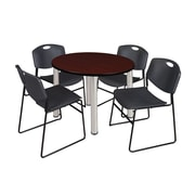 """Regency Kee 42"""" Round Breakroom Table- Mahogany/ Chrome and 4 Zeng Stack Chairs- Black (TB42RDMHBPC44BK)"""