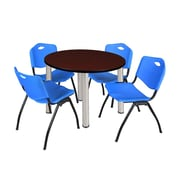 "Regency Kee 42"" Round Breakroom Table- Mahogany/ Chrome and 4 'M' Stack Chairs- Blue  (TB42RDMHBPC47BE)"