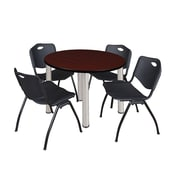 "Regency Kee 42"" Round Breakroom Table- Mahogany/ Chrome and 4 'M' Stack Chairs- Black  (TB42RDMHBPC47BK)"