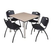 "Regency Kee 48"" Square Breakroom Table- Beige/ Chrome and 4 'M' Stack Chairs- Black  (TB4848BEBPC47BK)"