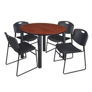 "Regency Kee 48"" Round Breakroom Table- Cherry/ Black and 4 Zeng Stack Chairs- Black  (TB48RDCHBPB44BK)"