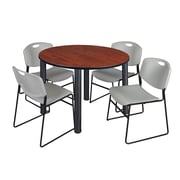 """Regency Kee 48"""" Round Breakroom Table- Cherry/ Black and 4 Zeng Stack Chairs- Grey  (TB48RDCHBPB44GY)"""
