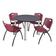 "Regency Kee 48"" Round Breakroom Table- Grey/ Chrome and 4 'M' Stack Chairs- Burgundy  (TB48RDGYBPC47BY)"