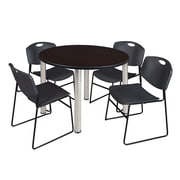 """Regency Kee 48"""" Round Breakroom Table- Mocha Walnut/ Chrome and 4 Zeng Stack Chairs- Black  (TB48RDMWBPC44BK)"""
