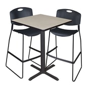 """Regency Cain 30"""" Square Cafe Table- Maple and 2 Zeng Stack Stools- Black (TCB3030PL4495BK)"""