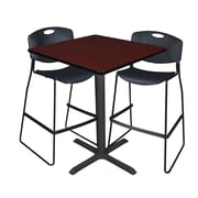 "Regency Cain 36"" Square Cafe Table- Mahogany and 2 Zeng Stack Stools- Black (TCB3636MH4495BK)"