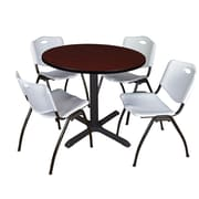 """Regency Cain 36"""" Round Breakroom Table- Mahogany and 4 'M' Stack Chairs- Grey (TB36RNDMH47GY)"""