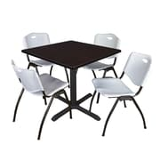"Regency Cain 42"" Square Breakroom Table- Mocha Walnut and 4 'M' Stack Chairs- Grey (TB4242MW47GY)"