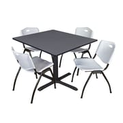 "Regency Cain 48"" Square Breakroom Table- Grey and 4 'M' Stack Chairs- Grey (TB4848GY47GY)"
