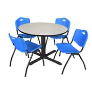 "Regency Cain 48"" Round Breakroom Table- Maple and 4 'M' Stack Chairs- Blue (TB48RNDPL47BE)"
