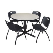 """Regency Cain 48"""" Round Breakroom Table- Maple and 4 'M' Stack Chairs- Black (TB48RNDPL47BK)"""