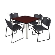 "Regency Kee 42"" Square Breakroom Table- Mahogany/ Chrome and 4 Zeng Stack Chairs- Black (TB4242MHPCM44BK)"