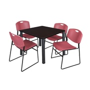 "Regency Kee 42"" Square Breakroom Table- Mocha Walnut/ Black and 4 Zeng Stack Chairs- Burgundy (TB4242MWPBK44BY)"