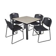 "Regency Kee 42"" Square Breakroom Table- Maple/ Black and 4 Zeng Stack Chairs- Black (TB4242PLPBK44BK)"