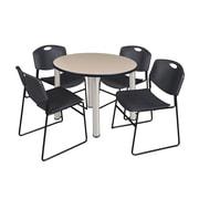 "Regency Kee 42"" Round Breakroom Table- Beige/ Chrome and 4 Zeng Stack Chairs- Black (TB42RDBEPCM44BK)"