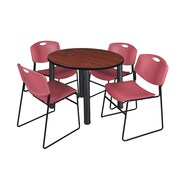 "Regency Kee 42"" Round Breakroom Table- Cherry/ Black and 4 Zeng Stack Chairs- Burgundy (TB42RDCHPBK44BY)"