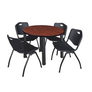 """Regency Kee 42"""" Round Breakroom Table- Cherry/ Black and 4 'M' Stack Chairs- Black (TB42RDCHPBK47BK)"""