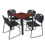 "Regency Kee 30"" Square Breakroom Table- Cherry/ Black and 4 Zeng Stack Chairs- Black (TB3030CHPBK44BK)"