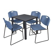 "Regency Kee 30"" Square Breakroom Table- Grey/ Black and 4 Zeng Stack Chairs- Blue (TB3030GYPBK44BE)"