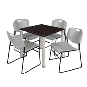 "Regency Kee 30"" Square Breakroom Table- Mocha Walnut/ Chrome and 4 Zeng Stack Chairs- Grey (TB3030MWPCM44GY)"