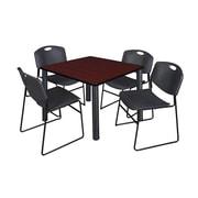 "Regency Kee 36"" Square Breakroom Table- Mahogany/ Black and 4 Zeng Stack Chairs- Black (TB3636MHPBK44BK)"