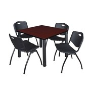 "Regency Kee 36"" Square Breakroom Table- Mahogany/ Black and 4 'M' Stack Chairs- Black (TB3636MHPBK47BK)"