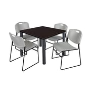 """Regency Kee 36"""" Square Breakroom Table- Mocha Walnut/ Black and 4 Zeng Stack Chairs- Grey (TB3636MWPBK44GY)"""